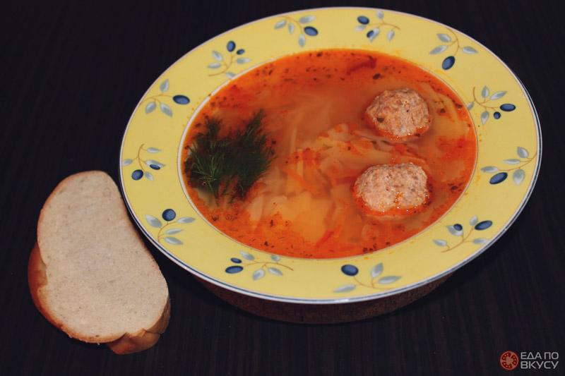 Легкий суп из фрикаделек