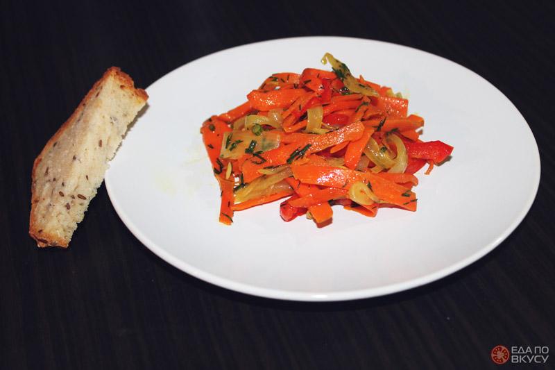 Морковь су-вид с луком и красным перцем - результат